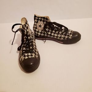 Converse black & white harlequin print shoes